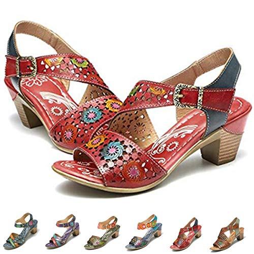 Camfosy Damen Leder Vintage Sandalen mit Absatz,Handgefertigte Bequeme Slingback Pumps,2029 Frühling Sommer rutschfest Gemütliche Freizeit Urlaub Fashion Party Schuhe - Rot 39 EU