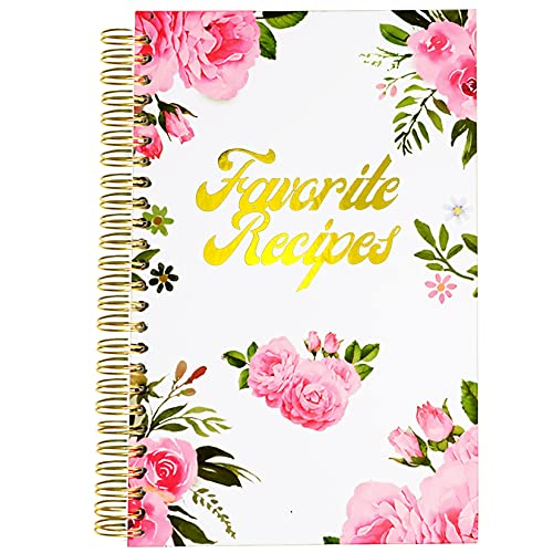 Recipe Book To Write in Your Own Recipes, Blank Recipe Notebook Card Cookbook Binder Journal Organizer for Bridal Shower with Cards Tabs (5.75x8.75 inch, Pink)