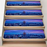 Cityscape 7-Pack Stair Skid Mats, Non-Slip, Soft,Empire State Building at Night,rotection Kids, Elders, and Dogs Safety