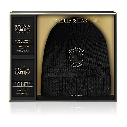 Baylis & Harding mannen zwart Luxe Beanie Hoed Set Zwart