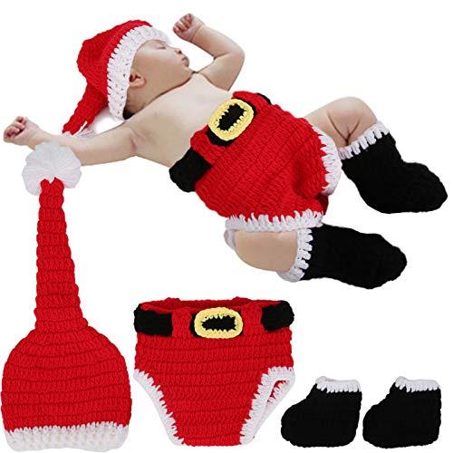 Ropa de fotografía navideña para bebé, traje rojo de Papá Noel navideño de algodón suave traje de punto de ganchillo infantil para sesión de fotos