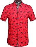 SSLR Camisa con Estampado de Tiburones Manga Corta de Algodón de Verano para Hombre (Large, Rojo)