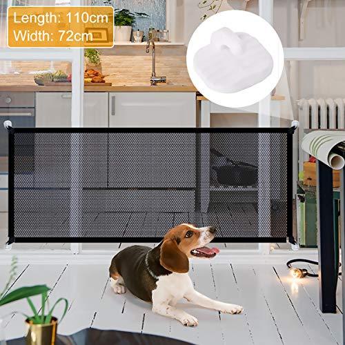 Vockvic Puerta mágica para Mascotas, Barrera Seguridad Perros Plegable, Puerta Extensible de Perro para Escaleras, Ideal para Perros Gatos Escaleras en Interiores y Exteriores (110 * 72cm)