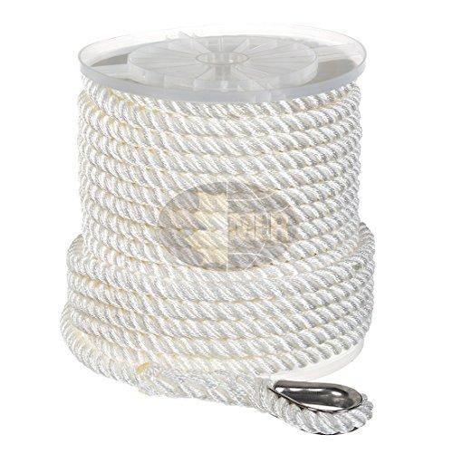 "Nylon 3 Strand Anchor/Rigging Line 1/2"" x 100' White"