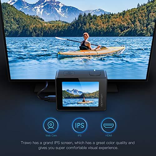APEMAN A100 Action Cam 4K/30fps UHD WiFi 20MP Unterwasserkamera 40M wasserdichte Camcorder (Extreme EIS Videostablisierung, IPS-Bildschirm, 2x1350mAh Batterien) - 4