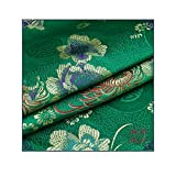 IQQI Chrysanthemum Brocade Cloth Cheongsam Chinese Style Ancient Costume Tang Suit Clothing Fabric DIY Quilt Real Silk Satin Cloth(Green Series),A
