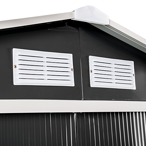 TecTake Metall Gerätehaus Gartenhaus Satteldach | Metall-Fundament | Diverse Farben und Modelle (Typ 3 | Grau | Nr. 402568) - 5