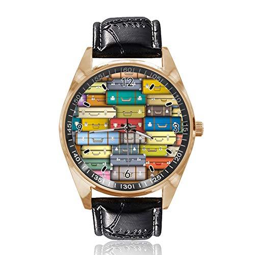 Reloj de Pulsera analógico de Cuarzo con diseño de Maletas Coloridas, Esfera Dorada clásica, Correa de Cuero para Mujer y Hombre