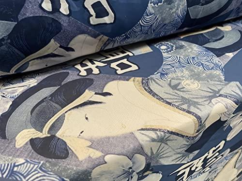 Tela de gasa estampada ligera, por metro, estampado de geisha japonés, color azul