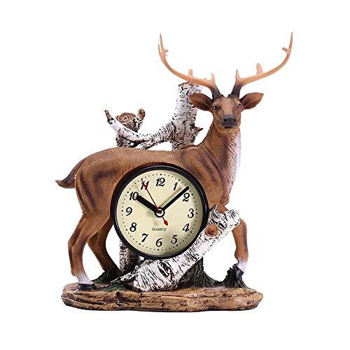 Pkfinrd Reloj Despertador Retro Cervatillo Reloj de Escritorio decoración Creativa Antigua casa decoración Bar cafetería Mesa Reloj decoración