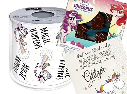 Set mit Serviette, Schokolade und Toilettenpapier Glitzer Einhorn Kinder Sterne Geburtstag