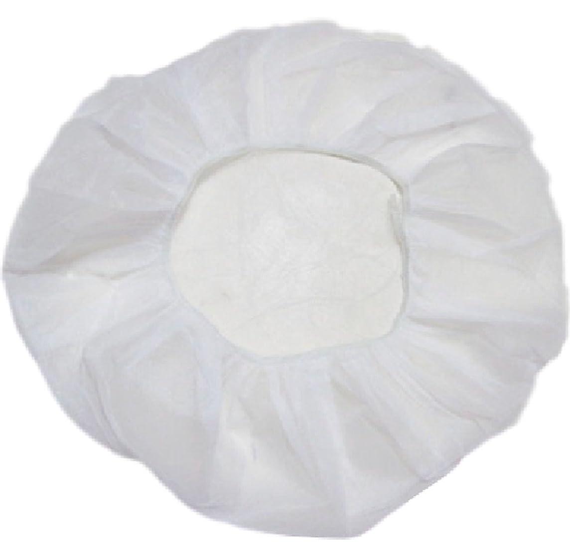 旅行巨大な顕著業務用 不織布 ヘアキャップ 使い捨て 衛生 食品 加工 工場 大きめ (100個, 白)