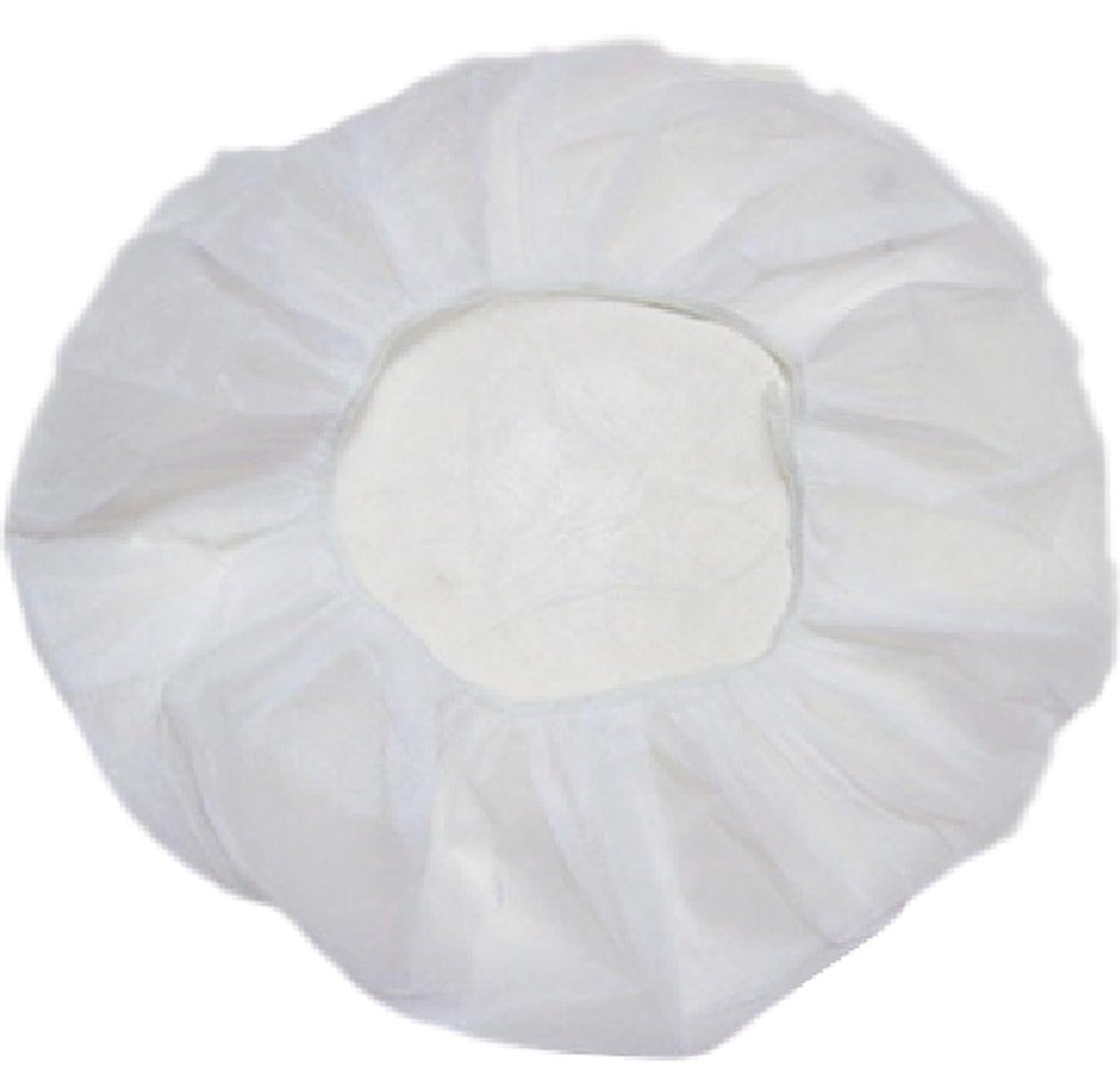拡声器貫通ラッシュ業務用 不織布 ヘアキャップ 使い捨て 衛生 食品 加工 工場 大きめ (100個, 白)