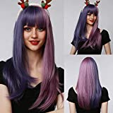 HAIRCUBE Parrucca cosplay del, parrucche sintetiche naturali blu parrucche viola e rosa viola con parrucca viola resistente al calore Pony Party di Halloween