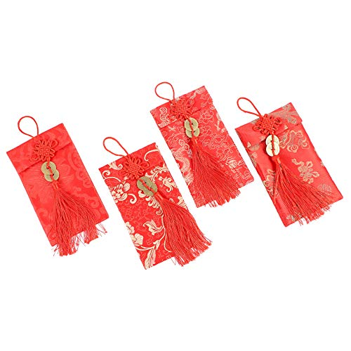 100 Pieces # 10 Red Envelopes Chinese New Year Gift Card Envelopes and 200 Pieces Happy New Year Stickers Circle Label Seal Sticker for Spring Festival New Year Supplies Red Envelope, Black Sticker