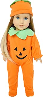 Halloween Pumpkin Costume Compatible with 18 Inch American Girl Dolls- Doll Clothes