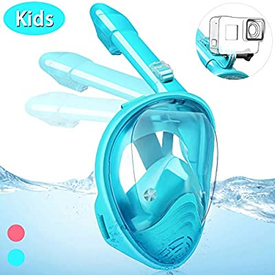 Hieha Full Face Snorkel Mask for Kids - 2020 Newly Released Anti-Fogging Anti-Leak Snorkeling Set with Detachable Camera Mount & Dive Mask Safety Breathing System Dry Top Set Foldable Diving (Green)