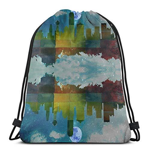 Lawenp Delicate Blue Rose Flower Unisex Outdoor Rucksack Shoulder Bag Sport Drawstring Backpack Bag