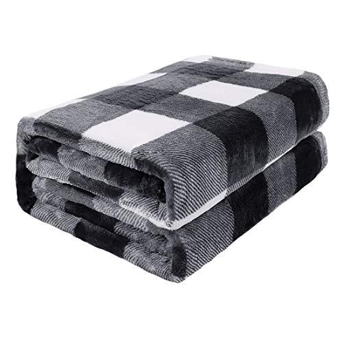 PiccoCasa Karierte Decke Wolldecke Große Decke Tagesdecke Fleecedecke Warme und weiche Wohn- und Kuscheldecke als Sofadecke/Couchdecke Sofaüberwurf SchwarzundWeiß 130x150cm
