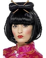 Smiffy's Peluca Mujer Oriental o Japonesa Negra con Palillos