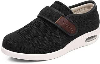 Men's Breathable Mesh Walking Shoes Comfy Elderly Outdoor Sneakers for Diabetic Edema Adjustable & Lightweight Summer Slippers