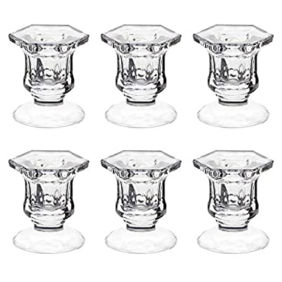 """Candle Holders, Dedoot Pack of 6 Glass Candle Holders Centerpiece Clear Candlestick Holders Fit 3/4"""" Taper Candle, Decorative Candle Stand 2.3"""" Height for Table Wedding Party"""
