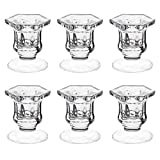 Candle Holders, Dedoot Pack of 6 Glass Candle Holders Centerpiece Clear Candlestick Holder...