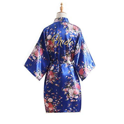JZUO Damen Seide Sommer Blüte Bronzing Powder Hochzeit Braut Seide Pyjamas Kurze Kimono Popeline Brautkleid Robe Pyjamas Schmuck blau Einheitsgröße