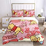 Juego de sábanas y fundas de almohada de diseño de Winnie the Pooh para cama aplicable para niños, niñas y adolescentes