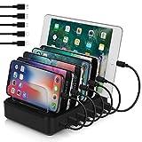 USB Charging Station, Premium 80W 6-Port Desktop Charger Organizer With 45W...