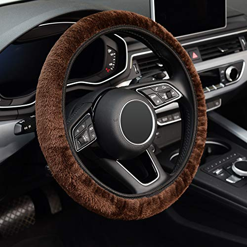 KAFEEK Elastic Long Microfiber Plush Steering Wheel Cover for...