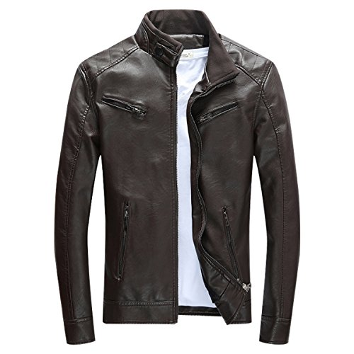 LISUEYNE Herren Lederjacke Mens PU Leder Jacken BiSHE Slim Smart Fit Fleece Harrington Jacke Mantel,Kaffee,L