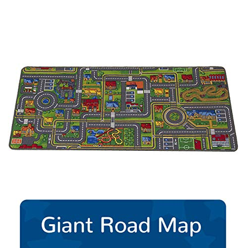"Learning Carpets Giant Road Map Play Carpet, 79"" by 36"" –Play Carpet Develops Imagination – Skid-Proof Gel Backing – Durable - Self-Contained Play Carpet for Hours of Fun – Indoor/Outdoor Use"