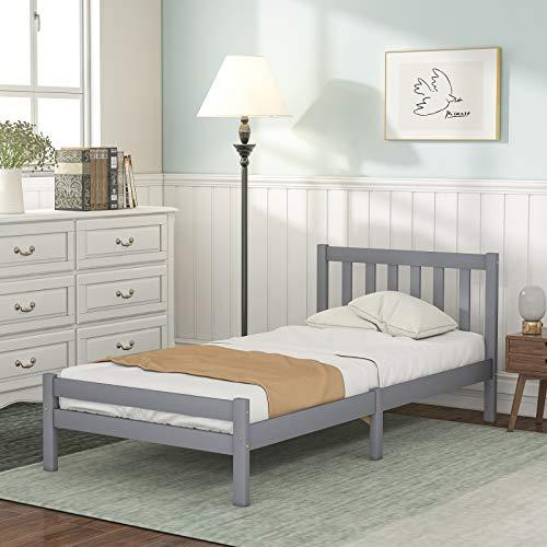 SIYANO Struttura per letto singolo in legno, 90 x 190 cm, struttura per letto singolo in legno massello, base per camera da letto, mobili per adulti, bambini, adolescenti (grigio)