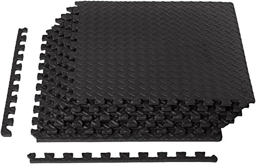 AmazonBasics Foam Interlocking Exercise Gym Floor Mat Tiles - Pack of 6, 24 x 24 x .5 Inches, Black