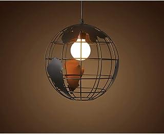 LEDMOMO Globo colgante con forma de globo terráqueo, luz colgante, lámpara de techo, color negro