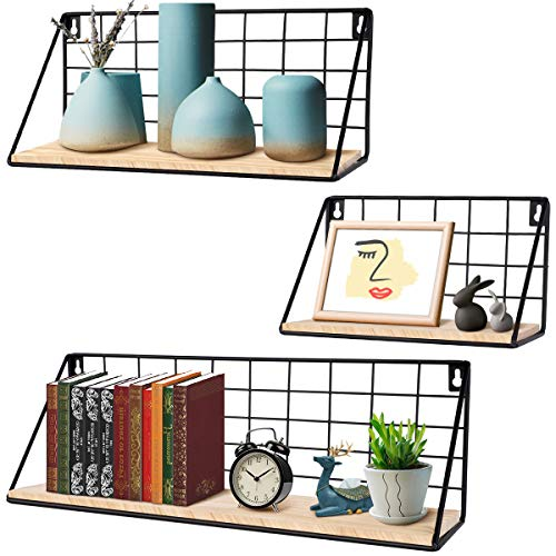 InnoGear Floating Shelves for Wall, Set of 3 Wall Mounted Rustic Wood Storage Shelves for Bedroom, Bathroom, Living Room, Office, Kitchen