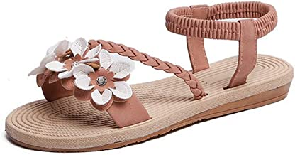 Woman Sandals Elastic ankle strap Flat Sandals Flowers Gladiator Beach Sandals