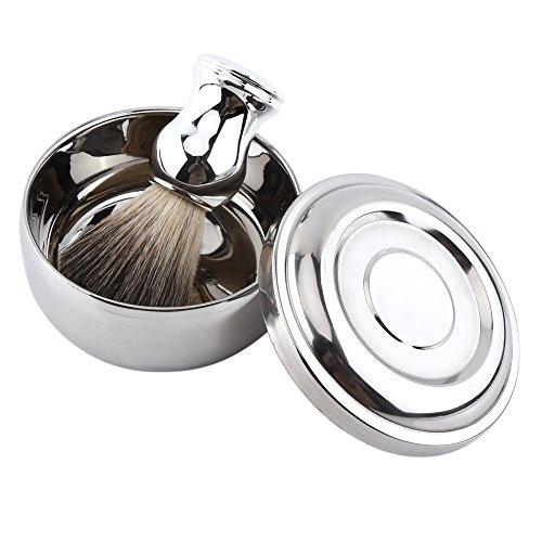 Ensemble de rasage, 2Pcs alliage rasage savon tasse bol avec couvercle + poignée en argent Faux blaireau brosse à cheveux hommes rasent Tool Kit, parfait pour les hommes cadeau