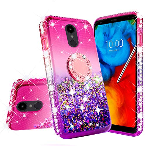 [GW USA] Liquid Glitter Cute Phone Case Kickstand for LG Stylo 4 / Stylo 4 Plus Case Clear Bling Diamond Bumper Ring Stand Girls Women for LG Stylo 4 / Stylo 4 Plus (Pink)