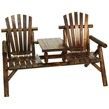 American Furniture Classics Log Two Seat Bench, Burnt