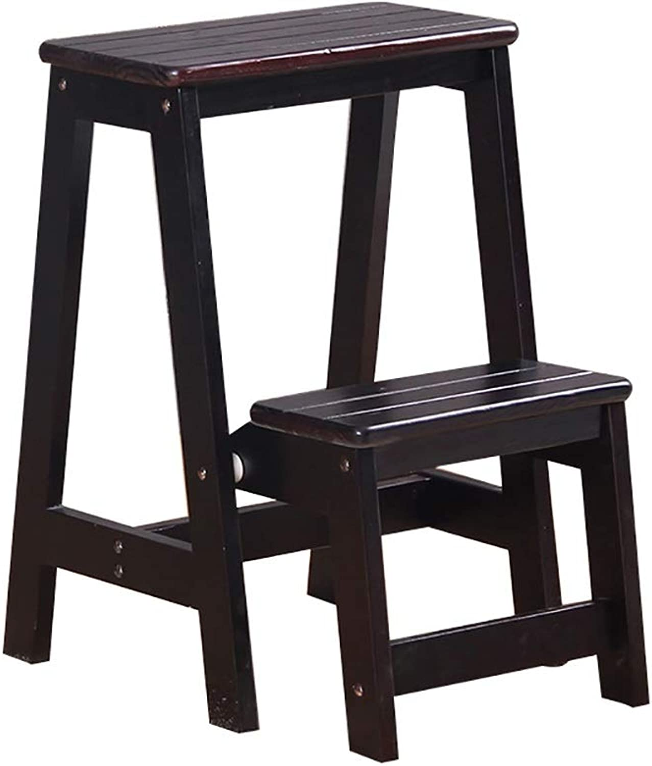 2-Step Multi-Functional Stairs Stool, Soild Wood Folding Ladder stools with Wide Pedal (Natural Pine), 55cm high (color   Dark nut-Brown)