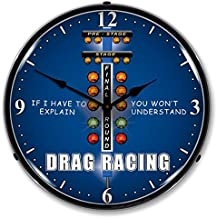 The Finest Website Inc. New Drag Racing Retro Vintage Style Advertising Backlit Lighted Clock - Ships Free Next Business Day to Lower 48 States