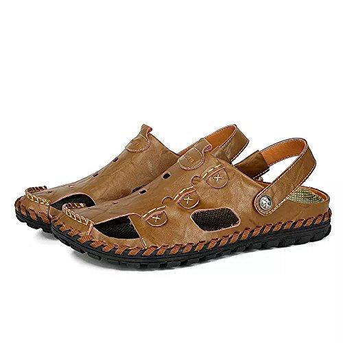 Sandalias Deportivas Hombres Verano Cuero Trekking Zapatillas Pescador Exterior Senderismo Playa Zapatos Casuales Chanclas Transpirable(Marrón,43/44 EU,27.5CM De talón a Dedo del pie