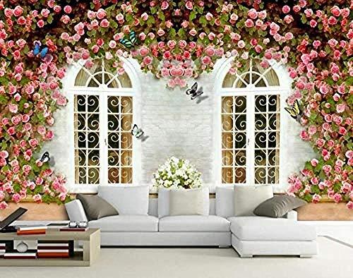 XHXI Ventana Rose Sidewall Wallpaper Flor Vine Mariposa para el hogar Dormitorio Sala de estar Papel tapiz Dec Pared Pintado Papel tapiz Decoración dormitorio Fotomural sala sofá mural-350cm×256cm