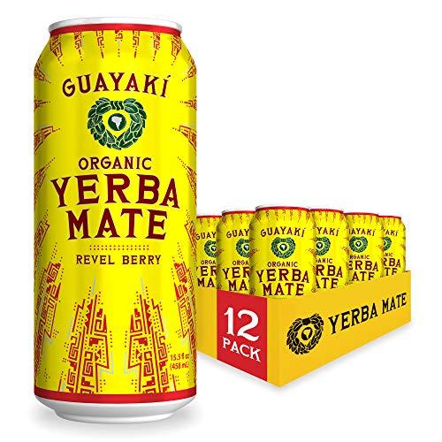 Guayaki Yerba Mate, Revel Berry, Organic Alternative to Energy, Coffee and Tea Drinks, 15.5 Ounce Cans, (Pack of 12), 150mg Caffeine