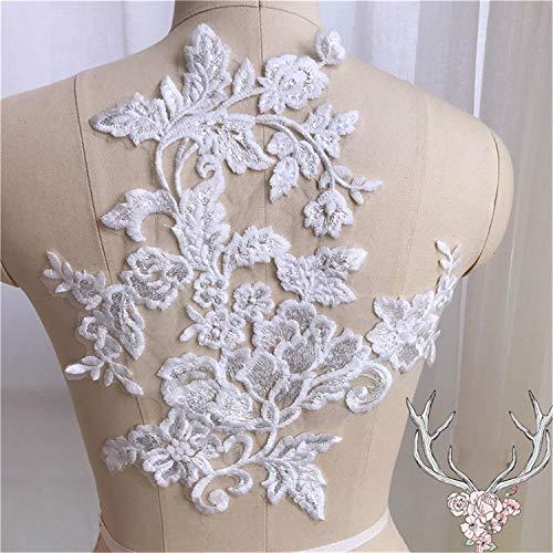 Uit Wit Katoen Applique Motief Trims Materialen met Bloemenborduurwerk Patches Lichaam Ambachten Naaien op Bruidsjurk Sluiers door 1 Stuk 1 Piece