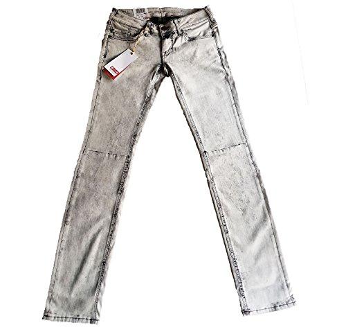 MUSTANG Moderne Damen Gina Skinny Hüftjeans grau verwaschen Grey super Bleached (W28/L32)