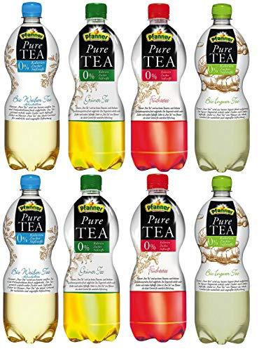 Pfanner Pure Tea BIO Zuckerfrei Probierset (Früchtetee, Grüner Tee, Weißer Tee, Ingwer-Zitrone) 8 x 1l (inkl. 2,00 € Pfand)