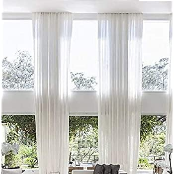 Amazon Com Ikiriska Extra Long Sheer Voile Curtains 2 Panels For High Ceiling Custom Made Length 12 14 15 16 17 18 20 24 Feet Long Wide Drapes For 2 Story Living Room Off White Furniture Decor,How To Arrange Flowers With Floral Foam